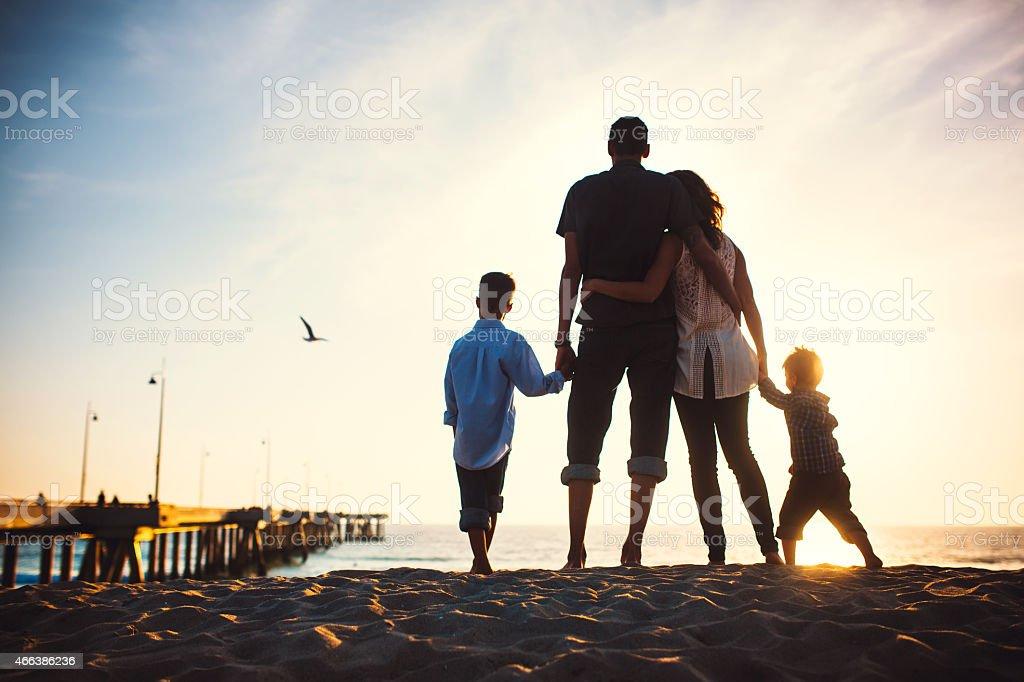 Loving Family at Venice Beach stock photo