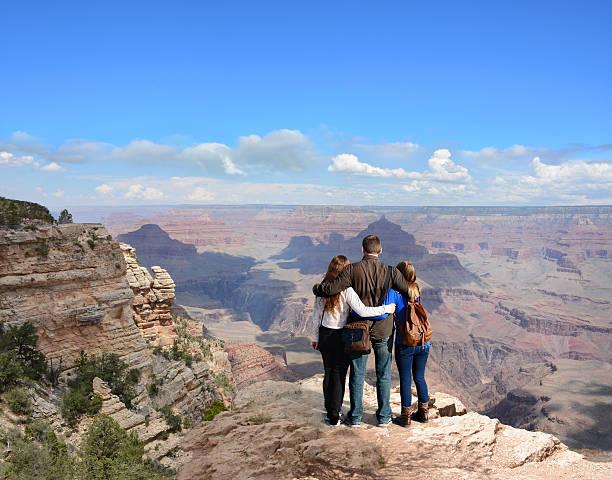 Loving family on vacation  hiking trip . stock photo