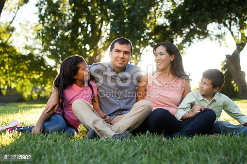 811227514 istock photo Loving family sitting outdoors and looking at father 811215902