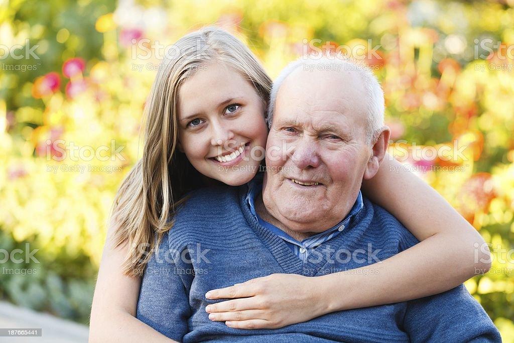 Loving granddaugher stock photo