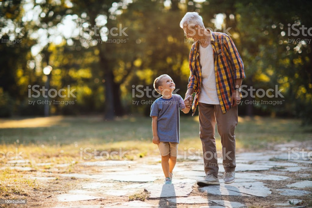 Loving grandpa stock photo