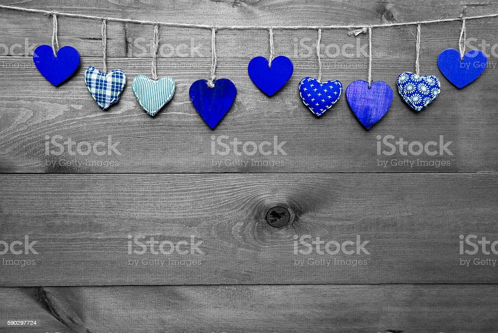 Loving Greeting Card With Blue Hearts, Copy Space royaltyfri bildbanksbilder