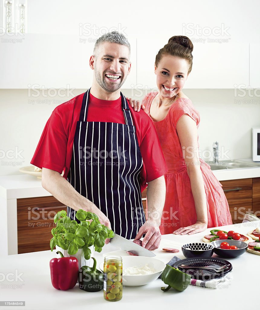 Loving Happy Couple Cooking Together royalty-free stock photo