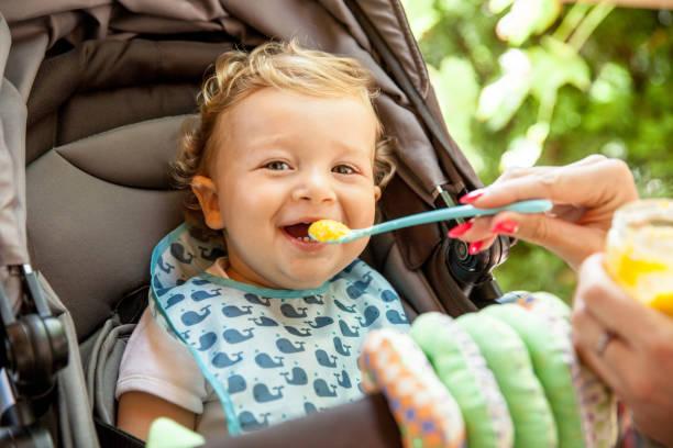 Loving His Baby Food stock photo