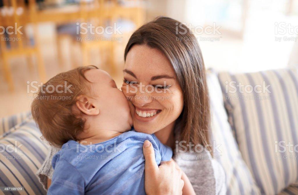 Loving his mom stock photo