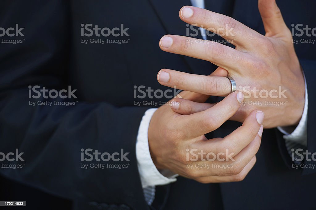 Loving his ring stock photo