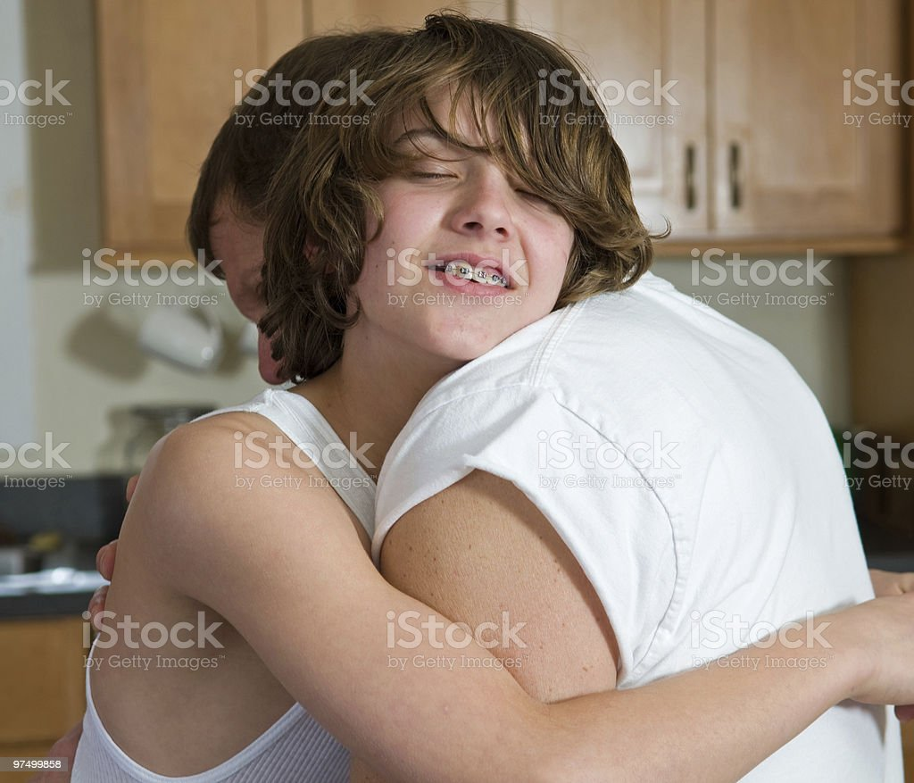 Loving hug, father and son royalty-free stock photo