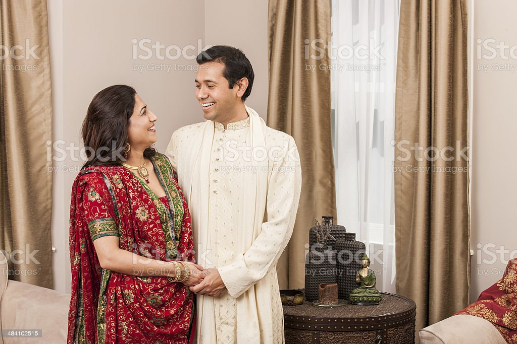 Loving Indian Couple at Home stock photo