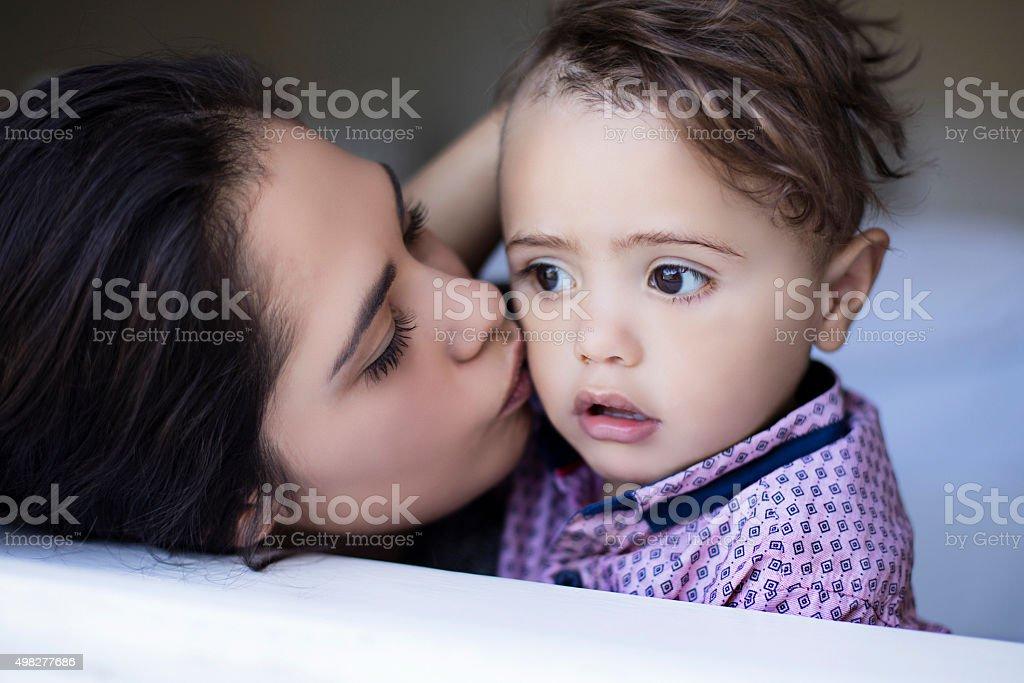Loving kiss stock photo