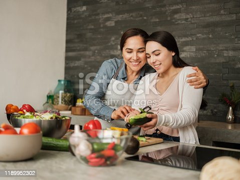 istock Loving latin mother teaching daughter to cook at home 1189952302