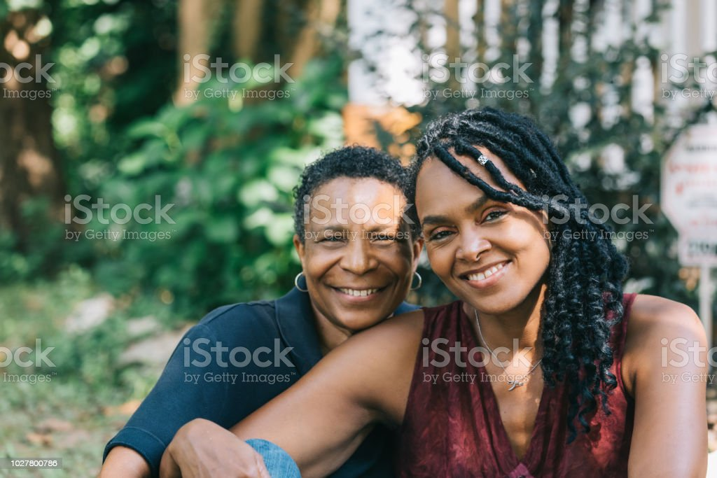 loving lesbian couple stock photo