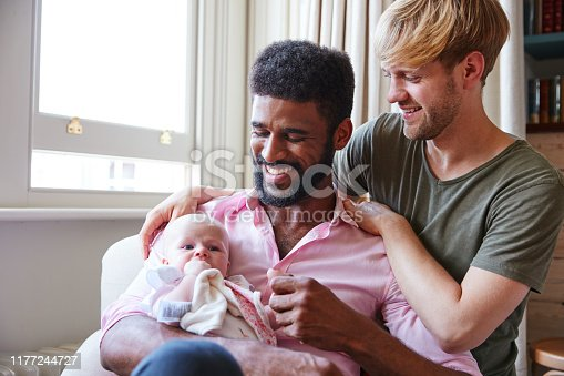 Loving Male Same Sex Couple Cuddling Baby Daughter On Sofa At Home Together