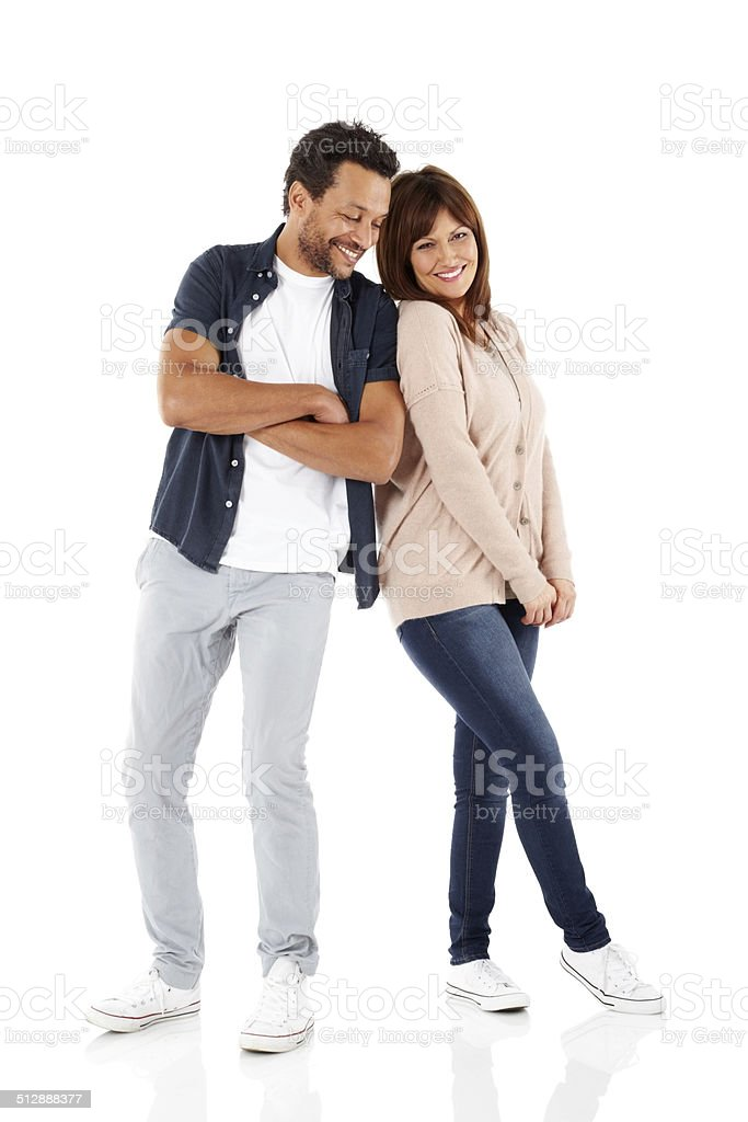 Loving mature couple looking happy together stock photo