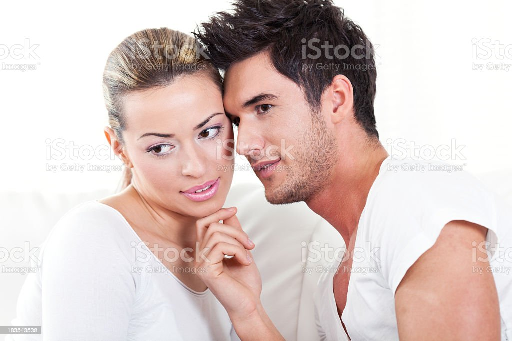 Loving passionate young couple stock photo