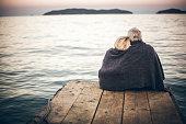 Loving senior couple enjoying the view