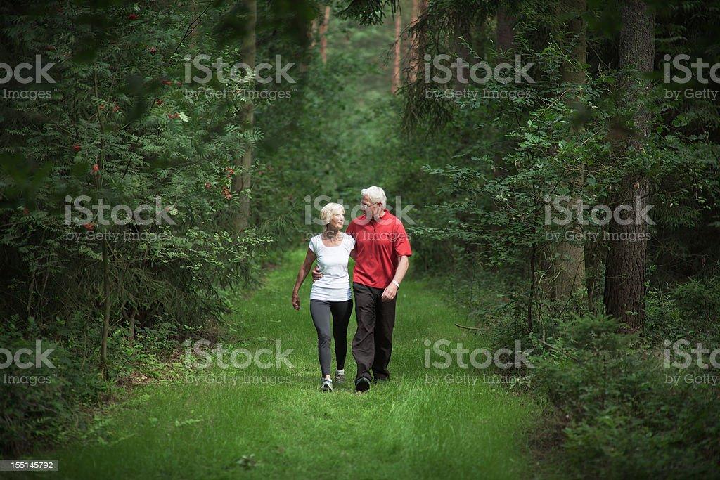 Loving senior couple walking through forest in summer (XXL) royalty-free stock photo