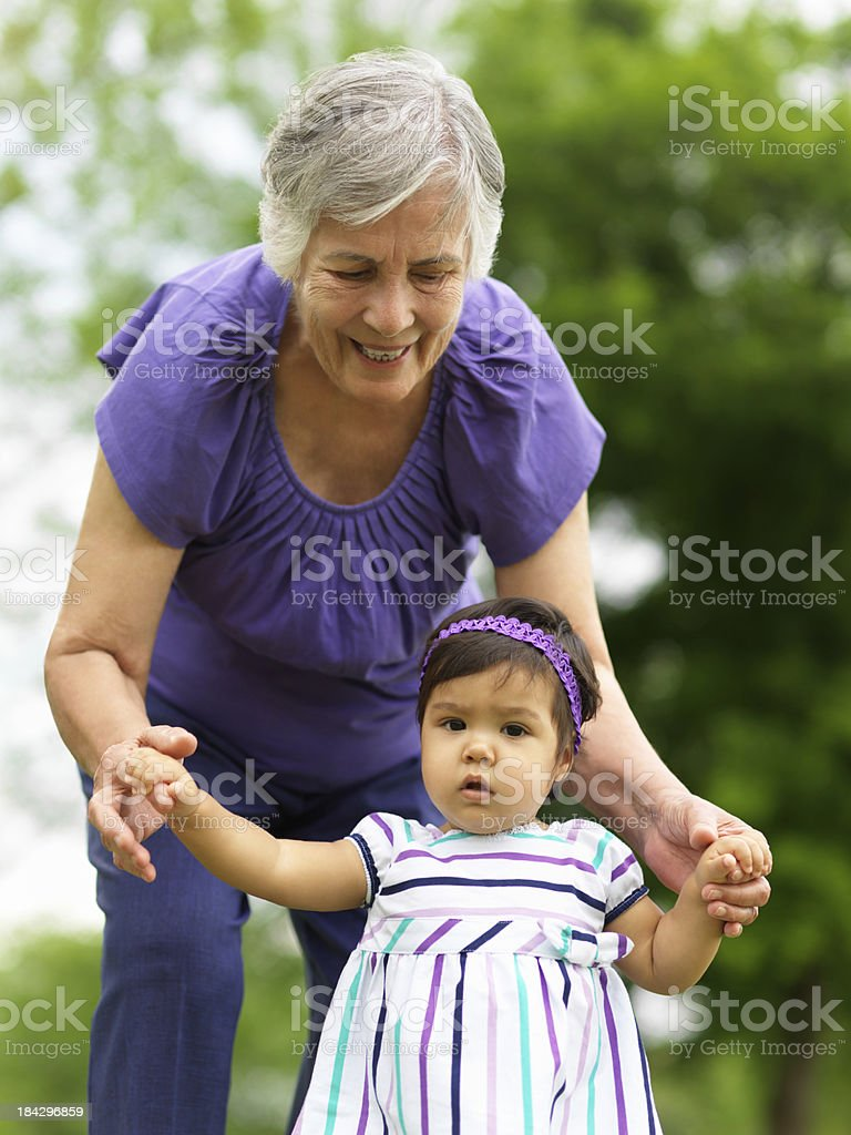 Loving senior with grandchild royalty-free stock photo