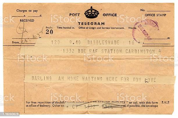 Loving telegram to RAF Cardington, 1942