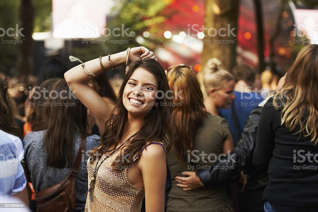 Loving the concert vibe stock photo