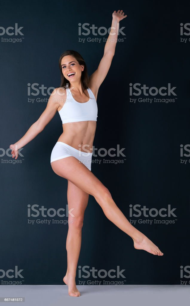 Loving the freedom that fitness brings stock photo