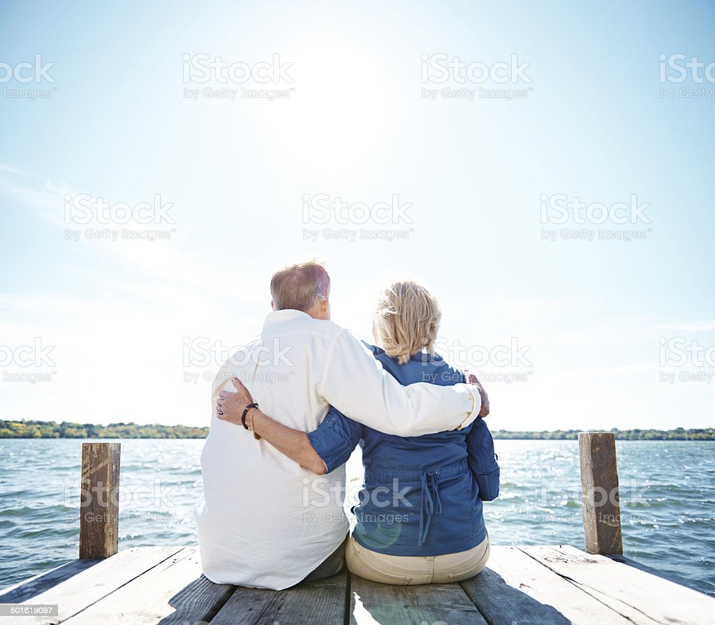 Loving the lake stock photo