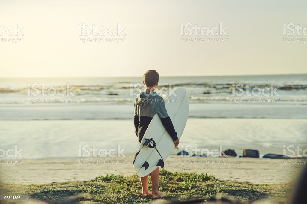 Loving the ocean from a young age stock photo