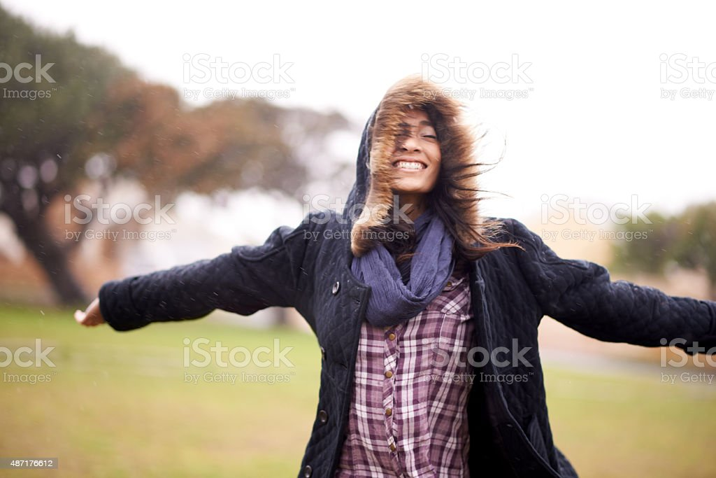Loving the raindrops Shot of a carefree young woman standing outside in the rain with her arms raisedhttp://195.154.178.81/DATA/i_collage/pu/shoots/805464.jpg 20-29 Years Stock Photo
