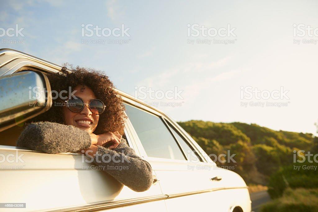 Loving this road trip! stock photo