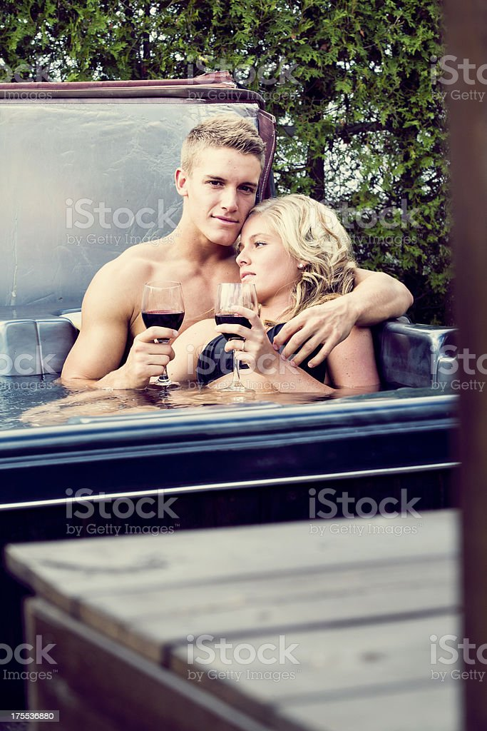 loving young couple in a spa stock photo