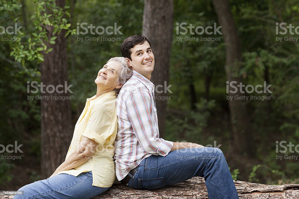 Loving young grandson and grandmother royalty-free stock photo