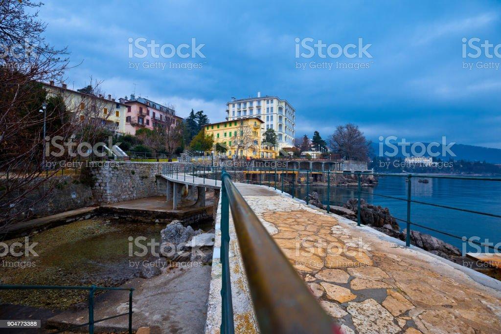 Lovran Lungomare sea walkway view, Kvarner bay of Croatia stock photo