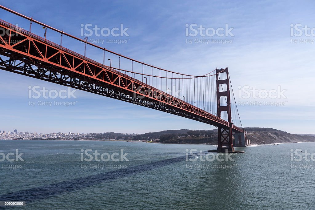 Low Aerial of the Golden Gate Bridge in San Francisco stock photo