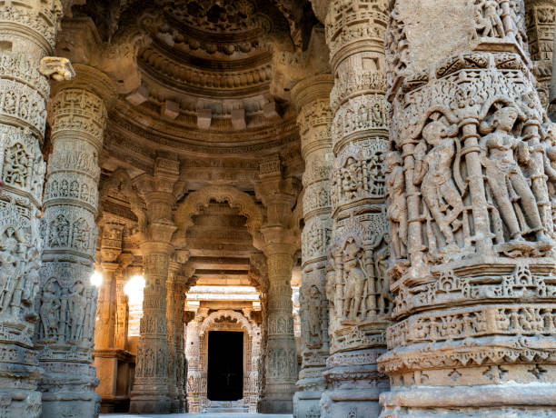 Low angal veiw of the assembly hall frome stapes to Kunda, the reservoir Sun Temple, Modhera Mehsana District Gujarat