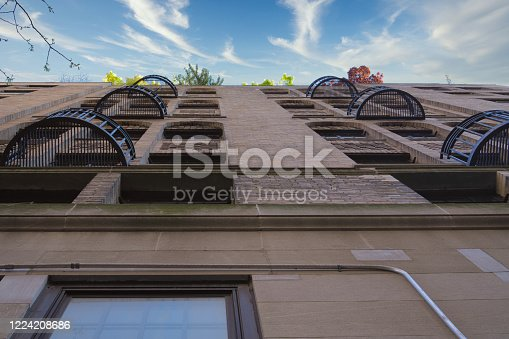 Low angle apartment building with balconies