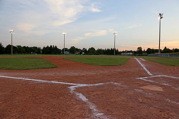 Low Angle Ball Field at Dusk stock photo