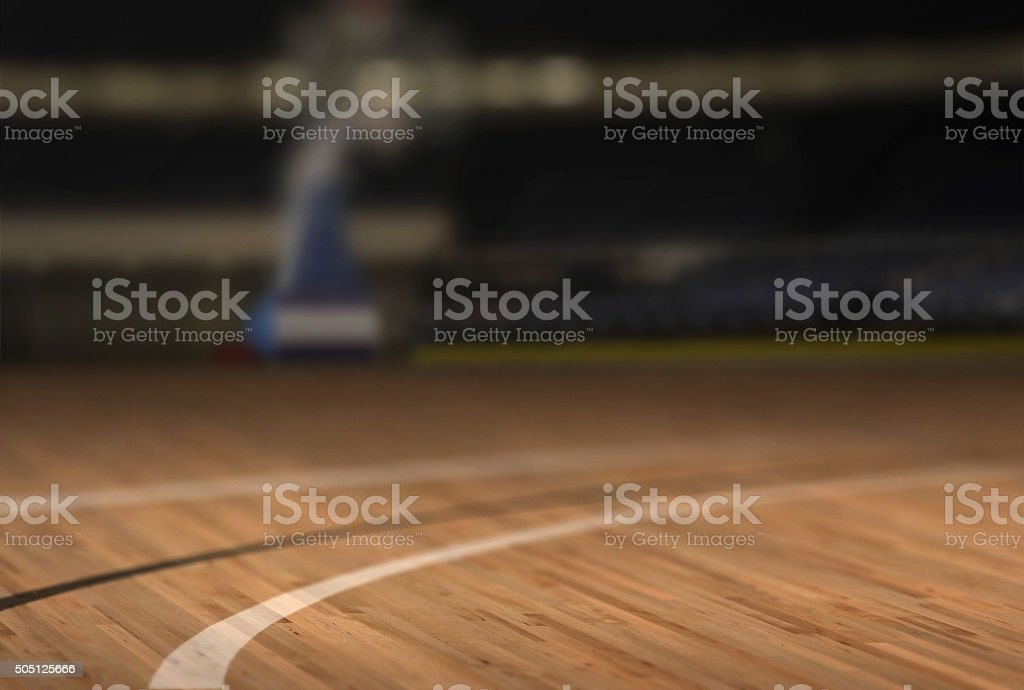 Low Angle Basketball Court Floor stock photo