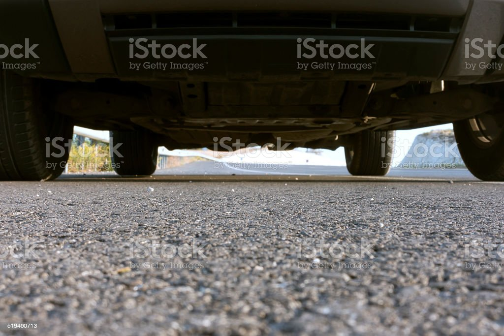 low angle car and asphalt road stock photo