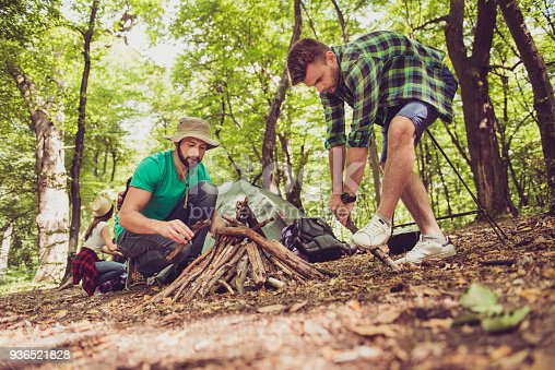 Low angle close up of two young male tourists in the wood, organizing the camp fire for barbeque, helping each other, team work, sunny day, green forest