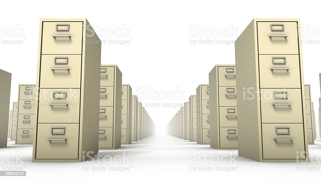 Low angle front view of endless File Cabinets (Beige) stock photo