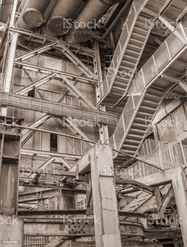 low angle industrial scenery stock photo