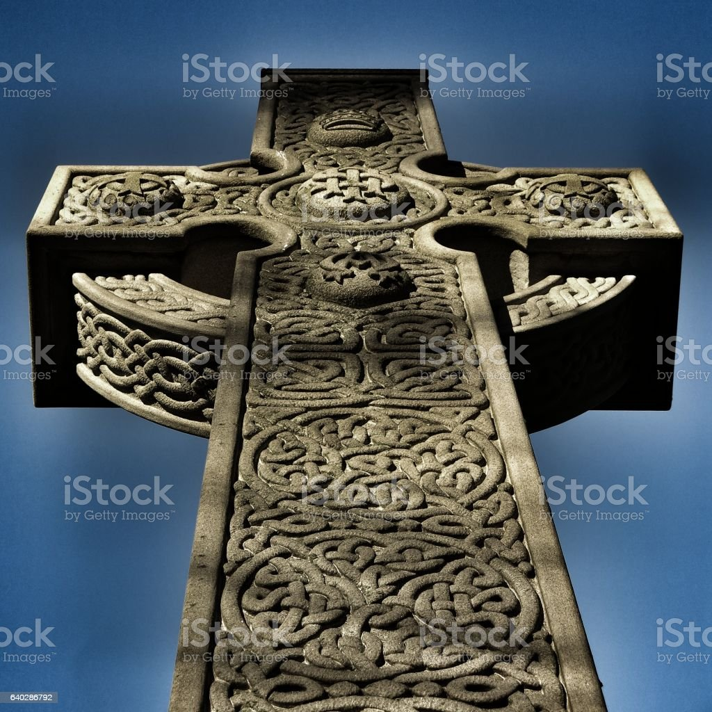Low Angle Irish Celtic Knot Pattern Cross stock photo