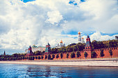 Low Angle Kremlin View From Moskva River