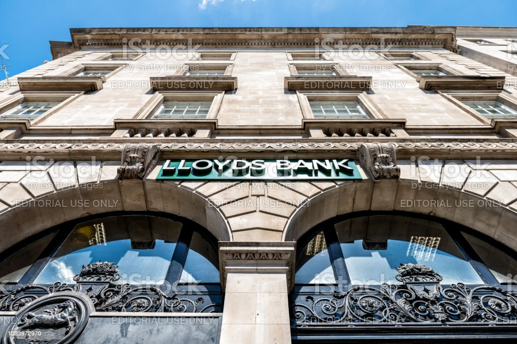 Low angle, looking up view on Lloyds Bank sign, branch, office in city stock photo