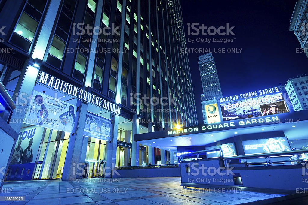 Low angle night shot of Madison Square Garden royalty-free stock photo