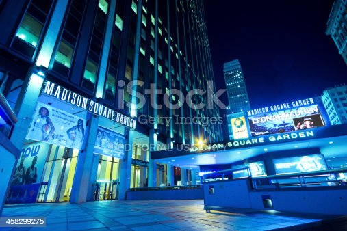 New York City, USA - September 13, 2012:  Entrance to Madison Square Garden in New York on the night of Sept. 13, 2012. This landmark multi-purpose indoor arena, also know as The Garden and MSG, is located in Midtown Manhattan above Penn Station.  It opened to the public in February 1968.