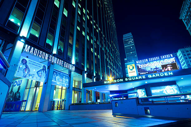 Low angle night shot of Madison Square Garden stock photo