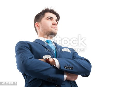 istock Low angle of confident lawyer or salesman 682595718