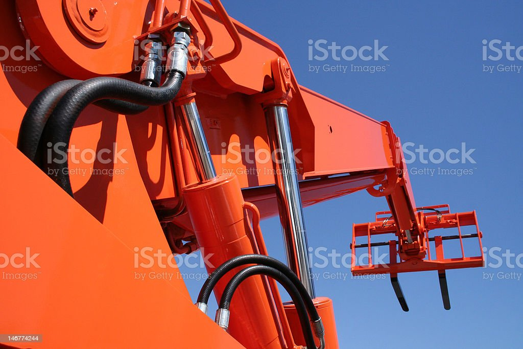 low angle orange fork stock photo