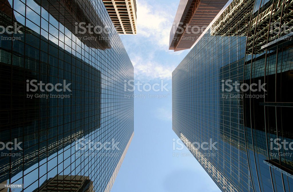 Low angle photo of blue sky between skyscrapers royalty-free stock photo