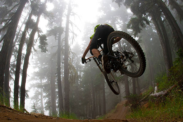 Low angle photo of mountain biker jumping in forest A male mountain bike rider hits a jump on a trail in a forest on a foggy day.  mountain biking stock pictures, royalty-free photos & images